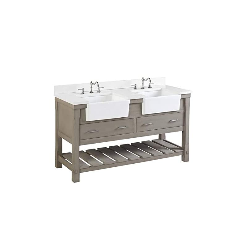 Charlotte 60-inch Double Bathroom Vanity (Quartz/Weathered Gray): Includes Weathered Gray Cabinet with Stunning Quartz…