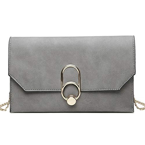 Republe Pure ragazza delle donne di colore della cinghia della catena singolo-spalla della borsa del Fashion PU Crossbody Messenger Bags Grigio