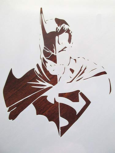 Stencil Reusable Batman vs Superman 10 mil Mylar Laser Cut for Painting on Wood, Art Craft, Airbrush, 9