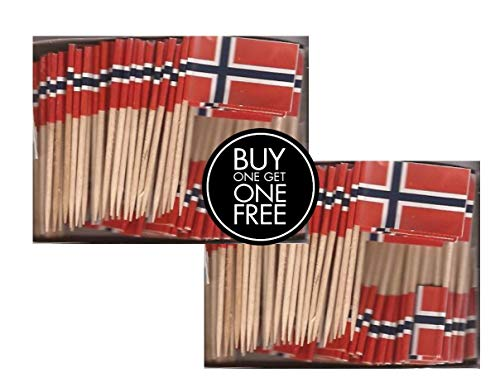 2 Boxes Mini Norway Toothpick Flags, BOGO Buy 1 Box of 100 and Get Another Box Free, Total 200 Small Mini Norwegian Flag Cupcake Toothpicks or Tiny Cocktail Sticks & Picks ()