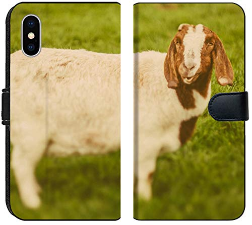 Luxlady iPhone XS MAX Flip Fabric Wallet Case Image ID: 34232218 Goat on a Green Grass as Sign of 2015 Year by Chinese Calendar Vintage t