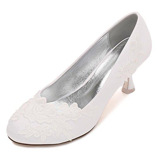 Toes Size De yc Corsage La Mujeres Satin Medida a Party Flor Ivory Court Boda Las Oficina Zapatos L Close z7xwZZ