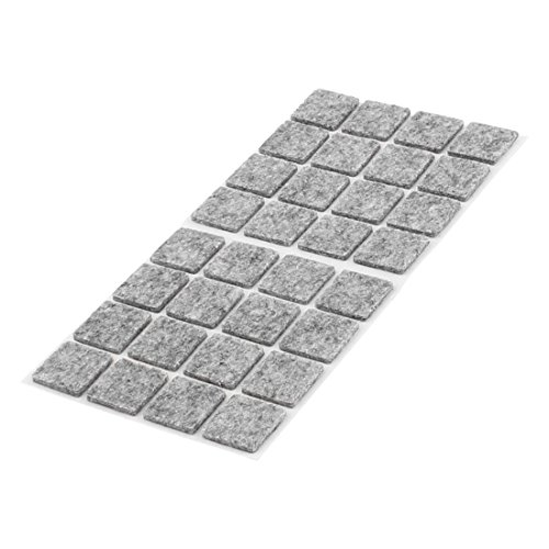 uxcell Furniture Pads Square Self-stick Non-slip Anti-scratch Felt Pads Floors Protector 18 x 18mm 32pcs Gray