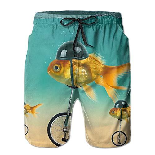 - Funny Goldfish Bike Rider Men's Swim Trunks Printed Beach Board Shorts with Mesh Liner 3 Pockets White