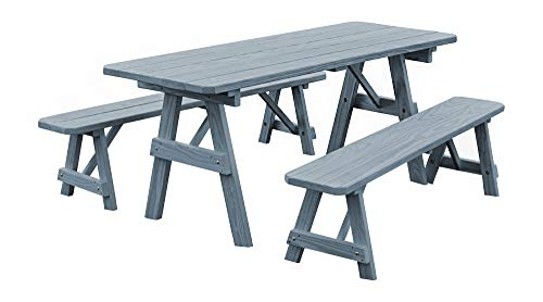 Pressure Treated Pine 8 Foot Picnic Table with Detached Benches- Gray Stain