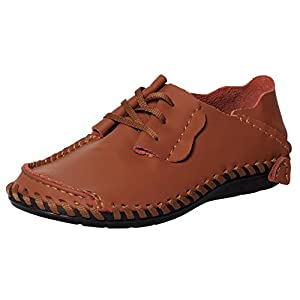 UJoowalk Mens Comfortable Unique Stylish Lace-Up Walking Casual Slip Resistant Working Driving Loafer Shoes (12 D(M) US, Brown)