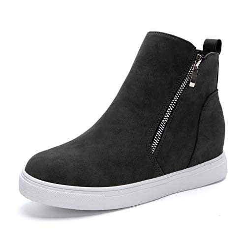 5386fe8e023c DEARWEN Women s Heel Platform Casual Sneakers Zipper Wedge High Top Sports  Shoes