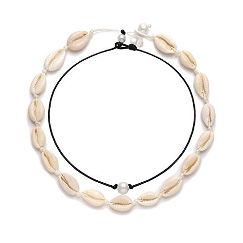 CENAPOG Pearls Shell Choker Necklace for Women Seashell Pendant Necklace Corded Seashell Necklace Handmade Rope Cord Beach Jewelry for Summer (Shell Necklace Set#1)