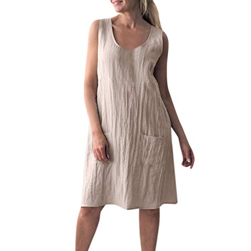 Sunhusing Ladies Casual Solid Color V-Neck Cotton Linen Pocket Sleeveless Dress Loose Casual Mini Dress Beige ()
