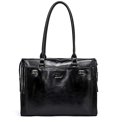 Womens Briefcase Oil Wax Genuine Leather 15.6 Inch Laptop Business Vintage Ladies Shoulder Bag Black