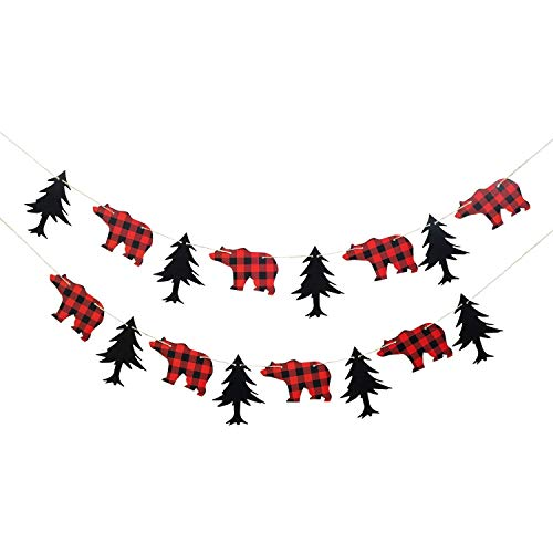 NIUBANG Lumberjack Theme Banner Plaid Garland Party Supplies Black Red for Kid Birthday & Baby Shower Party Decoration