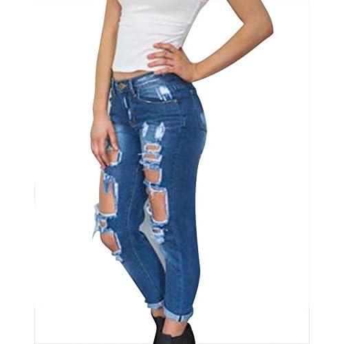 Mujer Vaqueros Push Up Skinny Elasticos Tejanos Rotos Pantalones Boyfriend Jeans