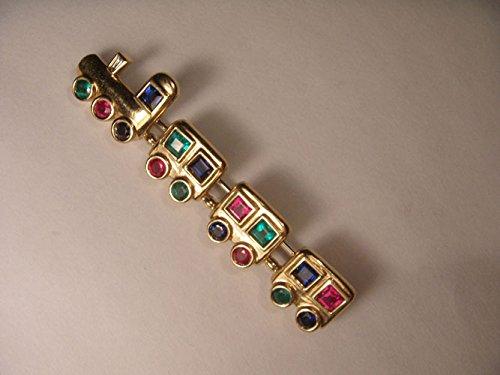Estate 14K Yellow Gold Ruby Emerald Sapphire Choo Choo Train Brooch Pin by GEMSforyou