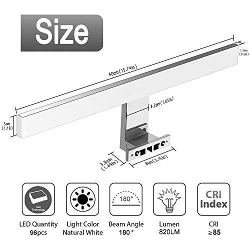 Azhien Lampe pour Miroir LED Salle de Bains 10W 820lm,400mm Blanc Neutre 4000K Lampe Miroir 230V IP44 Acier Inoxydable 3 en 1 Salle de Bain Lumiere 40cm