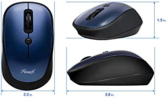 Optical Sensor Rosewill Wireless Mouse Office Style for Laptop PC Notebook USB Wireless Receiver Computer Adjustable DPI 4 Buttons MacBook Portable Cordless Compact Travel Mouse