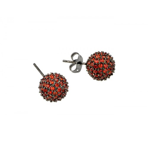 10mm Black Rhodium Plated Sterling Silver Micro Pave Set Orange CZ Round Ball Push-Back Earrings