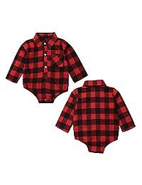 0-18M Newborn Baby Boy Girl Romper Red Black Plaid Long Sleeve Button Pocket Jumpsuit Classic Toddler Baby Bodysuit
