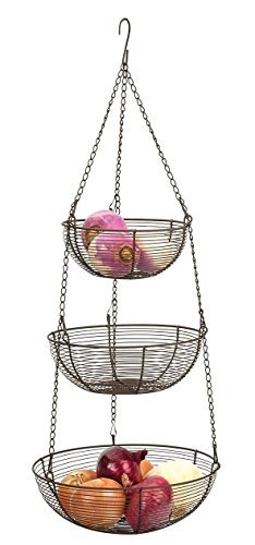 Good Bronze Woven Wire Hanging Basket 3 Tier Fruit Vegetables Store Organize By  Kitchen Hanging Baskets