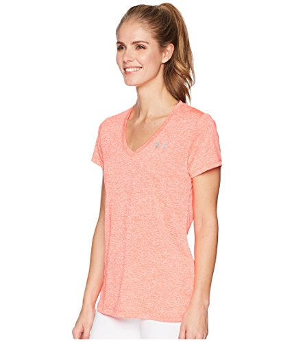 Under Armour Women's UA Tech¿ Twist V-Neck Neon Coral/Metallic Silver Small by Under Armour (Image #2)