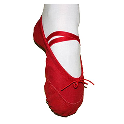 AOJIAN Clearance Children Canvas Ballet Pointe Dance Shoes Fitness Gymnastics Slippers for Kids (11, Red)