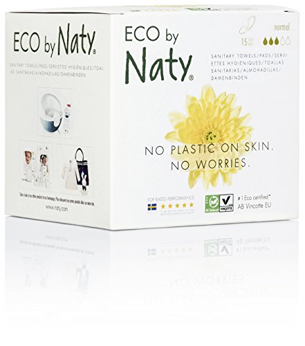 Eco by Naty Certified Thin Sanitary Pads, Normal, 15 Pads (Chemical-Free and Unscented)