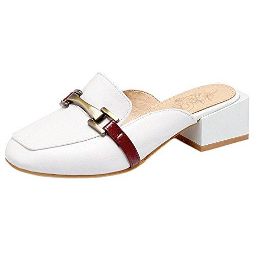 Sandales Femme White Mules TAOFFEN Bout Fermé 601OxqR