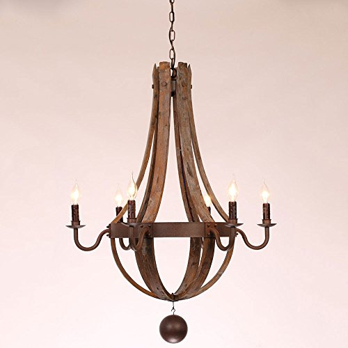 Rustic Wine Barrel Stave Reclaimed Wood & Rust Metal Chandelier with Candle Light 6 Lights