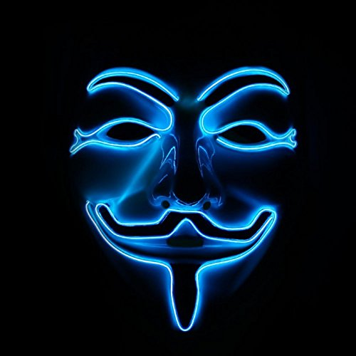 [Emazing Lights Halloween Costume Light Up Guy Fawkes Mask, Blue] (Edc Costumes Men)
