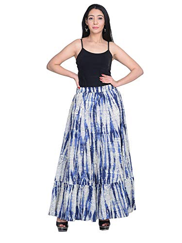 Pure Cotton Crinkled Crushed Block Printed Long Skirt Flowing Bohemian Cotton Long Maxi Skirt (S)