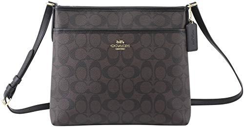 Coach FILE CROSSBODY IN SIGNATURE CANVAS, Im/Brown/Black, One Size (Coach Small Handbags Crossbody)