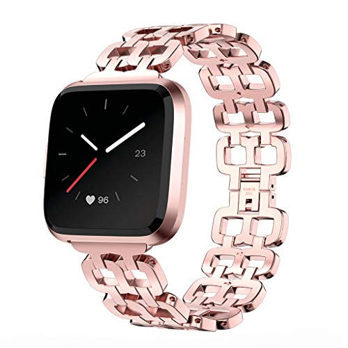Price comparison product image Bracelet Replacement for Fitbit Versa Lite Luxury Stainless Steel Easy Fit Adjustable Metal Strap Wrist Band for Men and Women (Pink)