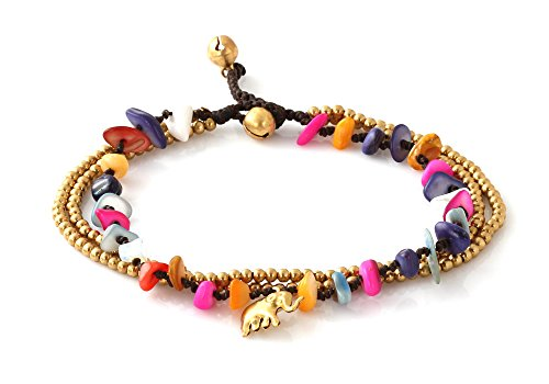 MGD, Colorful Dyed Shell Color Bead and Brass Bell Anklet. 3-strand Elephant Anklets Beautiful Handmade Brass Anklet. Small Anklets. Ankle Bracelet. F…