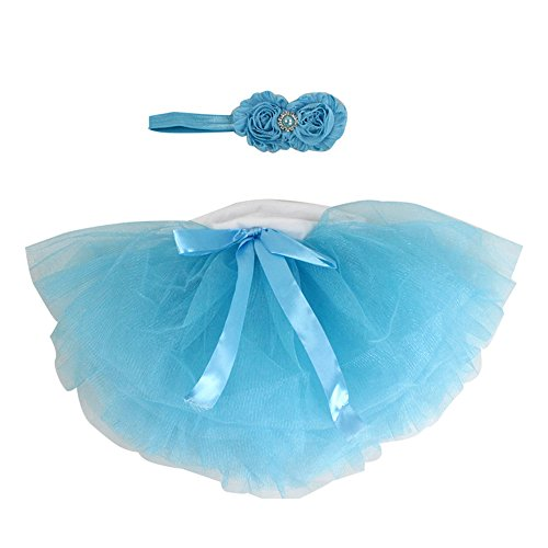 Newborn Baby Handmade Photography Prop Girl Tutu Skirt with Headband Outfits (0-6M, blue)