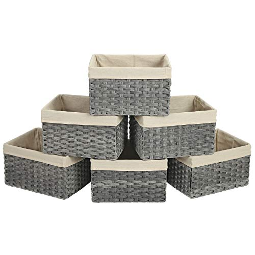 SONGMICS Storage Bins, Set of 6 Rattan-Style Storage Baskets, Decorative Bins with Cotton Liner for Shelf, Toy Organizer for Bedroom Closet Laundry Room, 15.8 x 11.8 x 9.8 Inches, Gray URRB256WG (Rattan Bins)