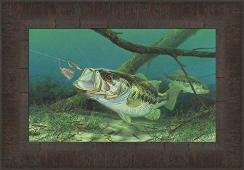 Unhappy Camper by Randy McGovern 11x15 Largemouth Bass Fish Fishing Framed Art Print Wall Décor Picture
