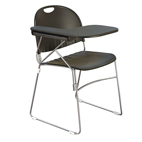Textured Polypropylene Stacking Chairs - KFI Seating Polypropylene Sled School Chair with Writing Tablet, Black Finish, Right Tablet