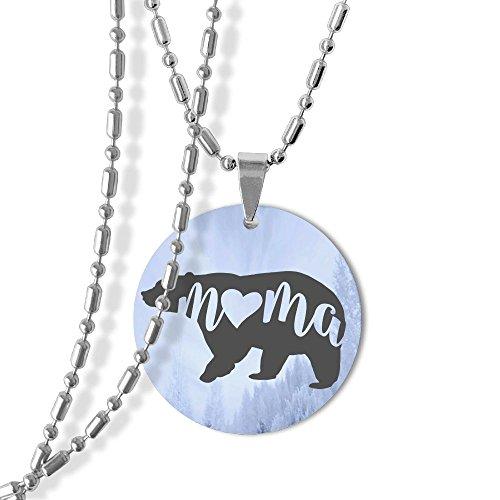 1 Mama Pendant (Mama Bear Dog Tag Round Pendant Necklace,23 Inch Chain,Zinc Alloy)