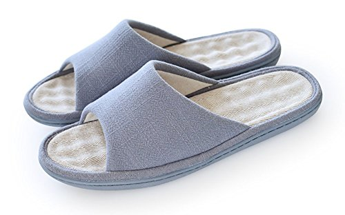 Unisex Slip-on Slippers Happy Lily Non-slip Open Toe Sandal COTTON&LINEN Mules Moisture Wicking Flax Shoes for Adult