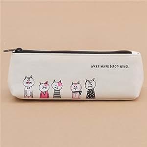 Lindo estuche para lápices crema con gracioso animal gato de ...