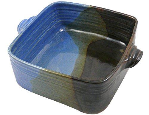 Dish Square Baker (American Made Stoneware Pottery 3-Quart Square Casserole Dish in Lakeside Blue)