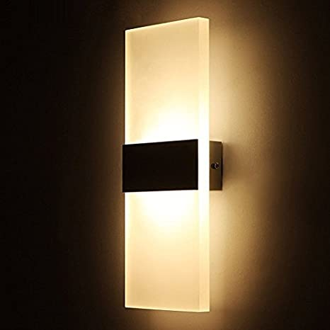Amazon geekercity modern acrylic 6w led bedroom wall lamps geekercity modern acrylic 6w led bedroom wall lamps fixture decorative lamps night light for pathway staircase mozeypictures Choice Image