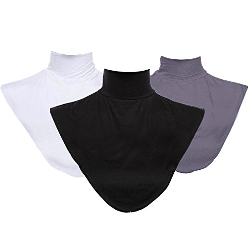 kilofly 3pc Women's Faux Turtleneck Half Top Mock Blouse Dickey Collar Value (Mock Neck Set)