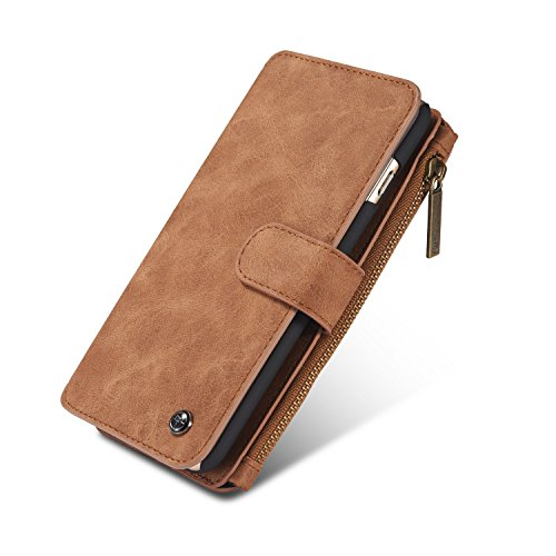 IPhone 6s Case, 2 in 1 Multi-functional Leather Handbag Zipper pocket Flip Folio leather wallet case Large Capacity Space Wallet Cover Case for Apple iPhone 6/6S 4.7 Inch (Spy Brown Handbag)