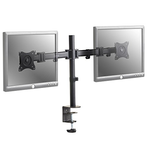 """VonHaus Dual Monitor Mount - Double Arm Desk Mount with Clamp - 13""""-27"""" Screens - 45 Degree Tilt, 360 Rotation and 180 Degree Pull Out Swivel Arm Bracket – Cable Management - Max VESA 100x100"""