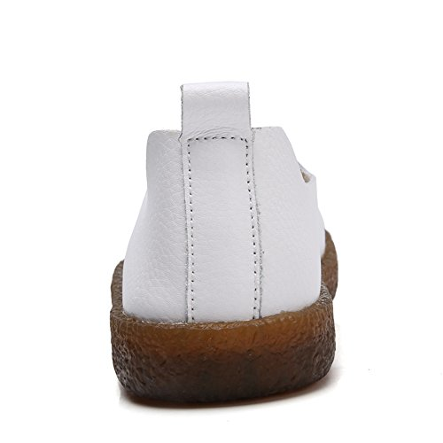 Leather Casual Foam Flats Classic White Slip Cooga Memory Women's Cushioned Shoes On Walking 6CqEzpx