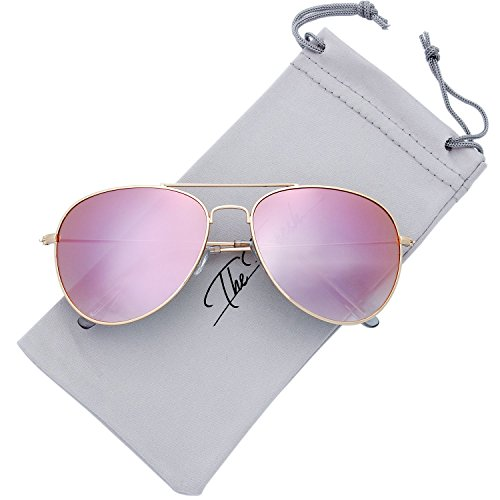 The Fresh Classic Large Metal Frame Mirror Lens Aviator Sunglasses with Gift Box (GOLD, Gradient PINK)