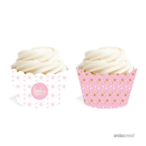 Andaz Press Twinkle Twinkle Little Star Pink Baby Collection, Cupcake Wrappers, -