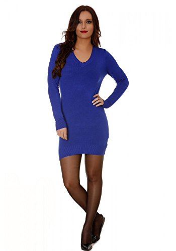 dmarkevous - Pull Long fin femme col V uni à manches longues - Unique, bleu royal
