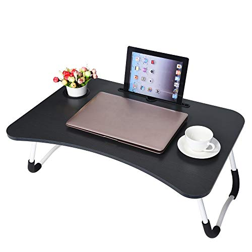 Price comparison product image Transser Portable Laptop Desk,  Foldable Breakfast Stand Table Lazy Serving Bed Tray Tilting Top,  Shipping From NJ. (Black)