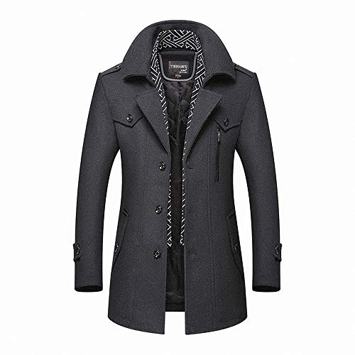 Volwassan Winter Warm Wool Coat Mens Trench Coat Long Business Woolen Jacket Casual Quilted Jacket Scarf Peacoat…